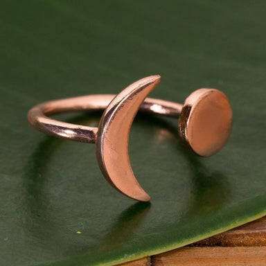 Rose Gold Adjustable Moon Ring - Urban Sprouts