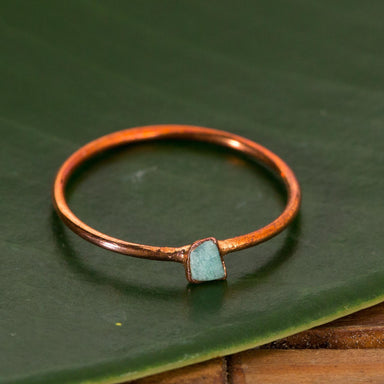 Raw Amazonite Stacking Copper Ring - Urban Sprouts