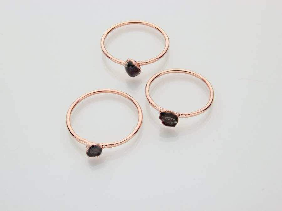 Raw Garnet Copper Stacker Ring - Urban Sprouts