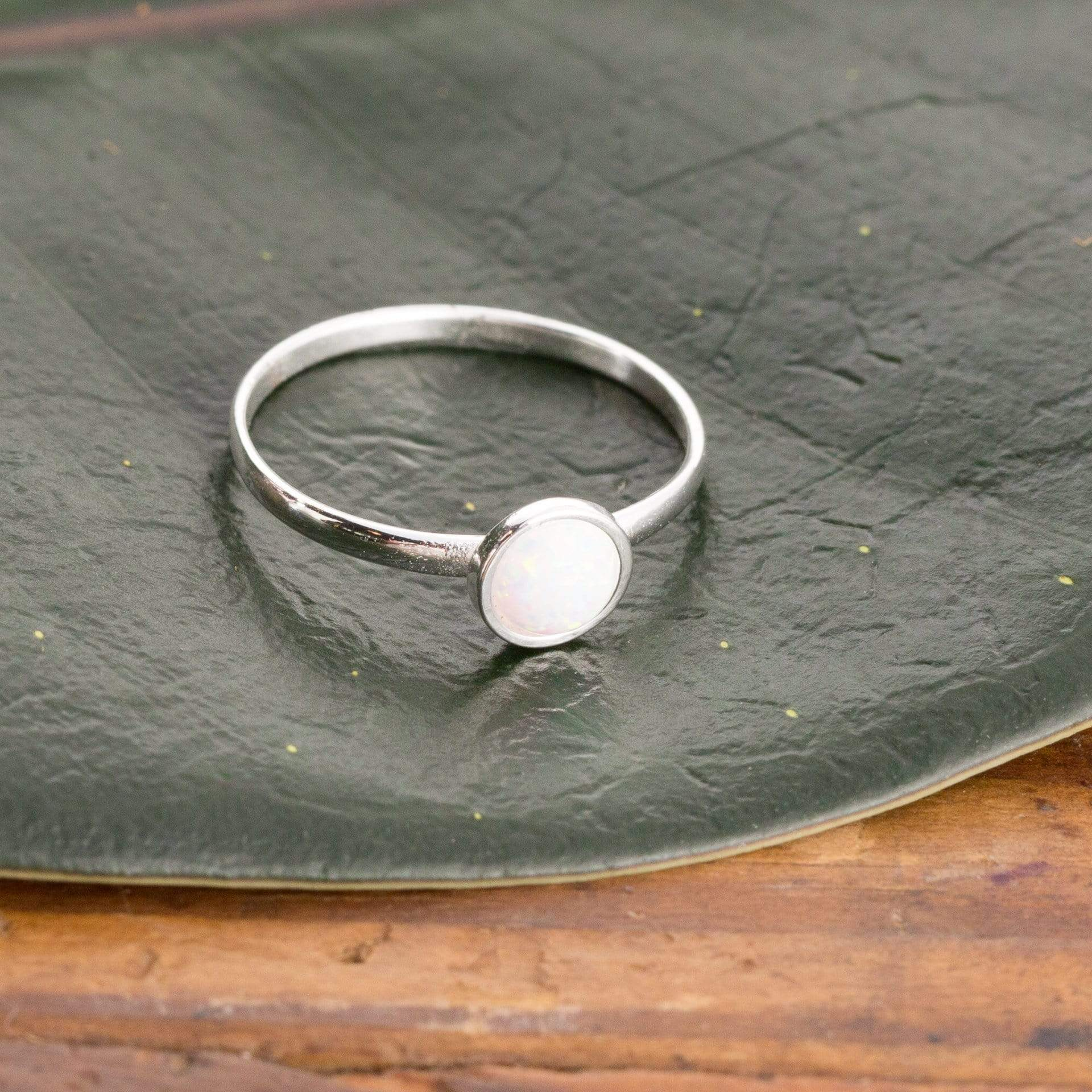 Sterling Silver And Round Opal Ring - Small/medium - Urban Sprouts