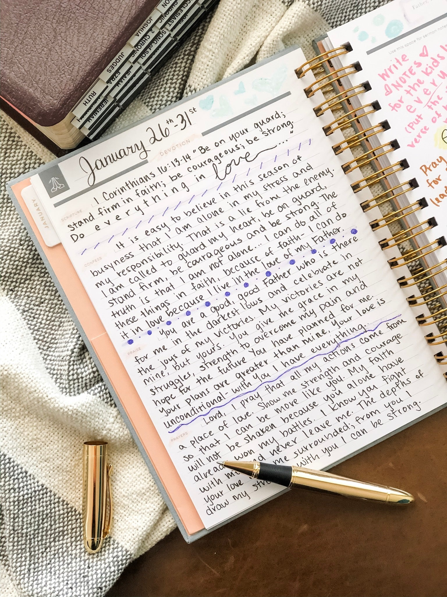 prayer prompts in a Christian planner