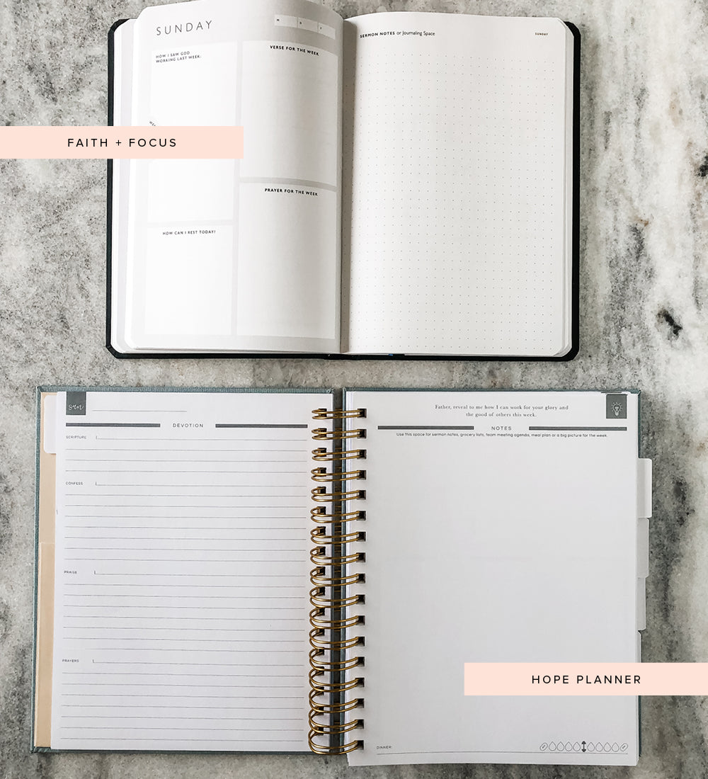 faith and focus 90 day planner versus hope planner daily - sunday sermon notes devotional view