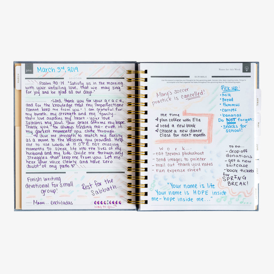 christian planner with prayer journaling and note pages example