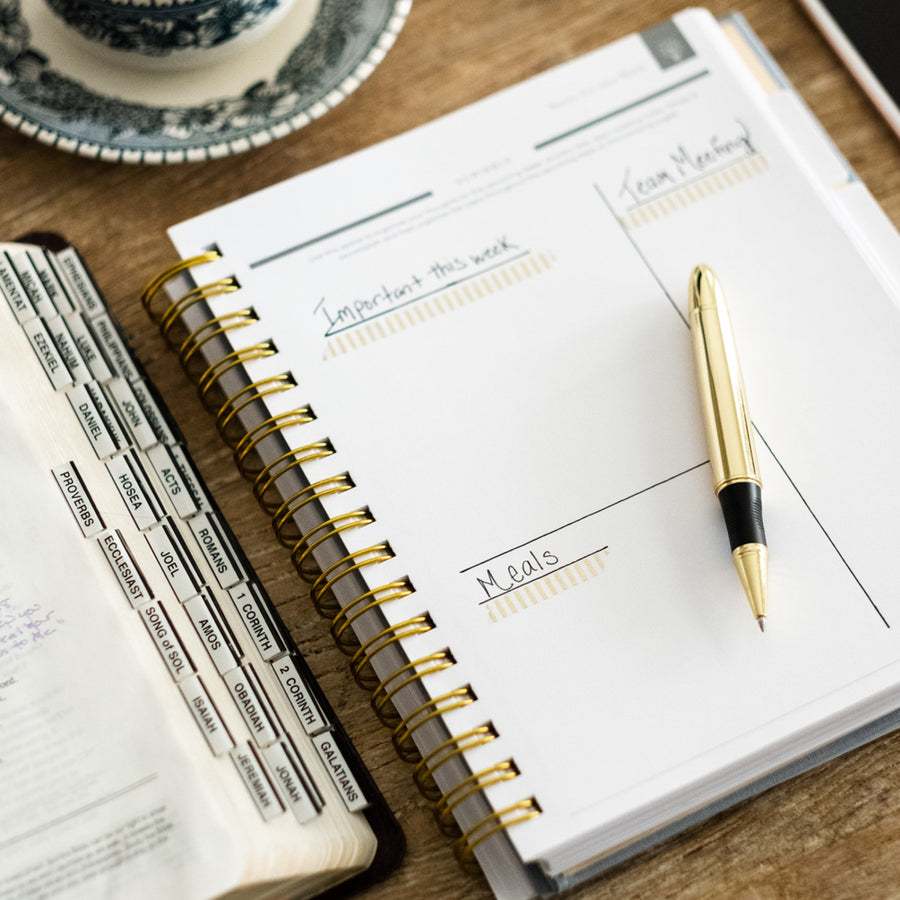 christian planner with sermon notes page