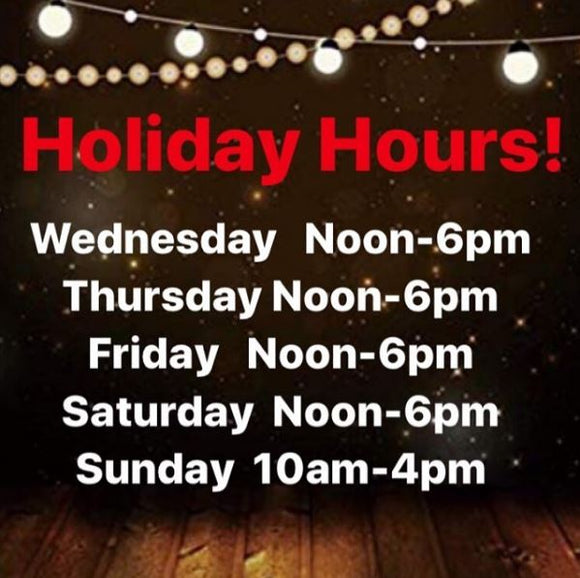 Holiday Hours!!