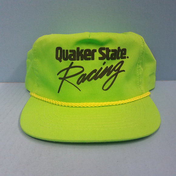 Neon Green Quaker State Racing Snapback Trucker Hat