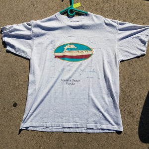 1990s Single Stitch Madeira Beach Florida Fishing Boat Shirt Size Mens XL