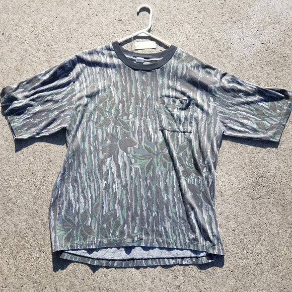 Vintage Single Stitch Real Tree Camo Pocket Tee Shirt Size Mens 2XL