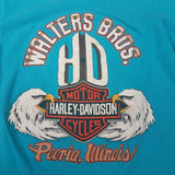 Vintage 1992 TEAL Single Stitch Harley Davidson Shirt SIZE S