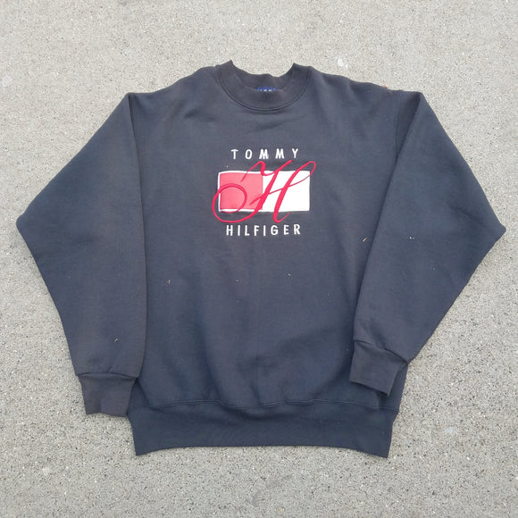 Bootleg Embroidered Tommy Hilfiger Sweat Shirt SIZE XL