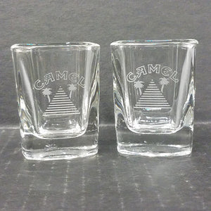 Set of 2 Etched Camel Pyramid Shot Glasses
