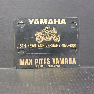 Vintage Max Pitts Yamaha Motorcycle Plate Peru, Indiana Advertising
