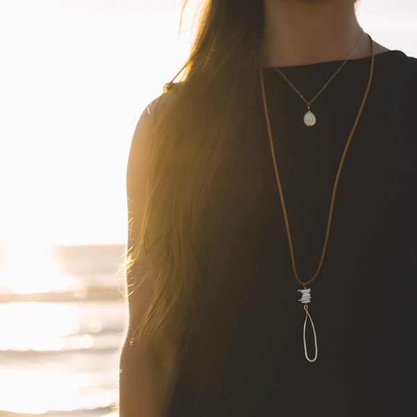 Seashell Long Suede Necklace - Lux Reve