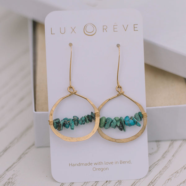 Alyssandra Turquoise Hoop Earrings - Lux Reve