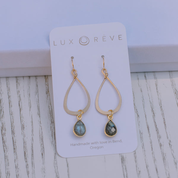 Labradorite Bezel Tear Drop Earrings - Lux Reve