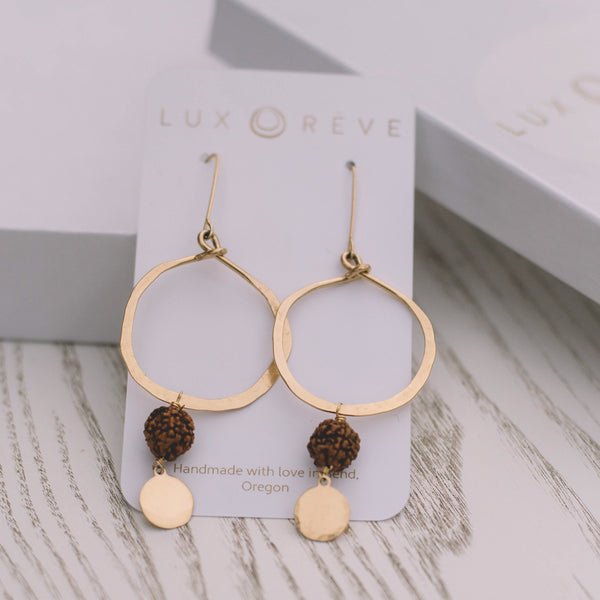 Mala Prayer Bead Hoop Earrings - Lux Reve
