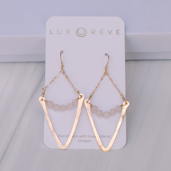 V Dangle Rose Quartz Earrings - Lux Reve