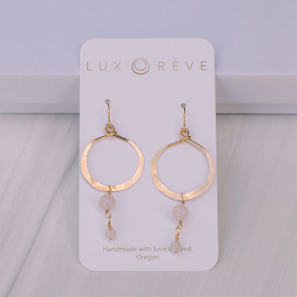 Rose Quartz Hoop Earrings - Lux Reve