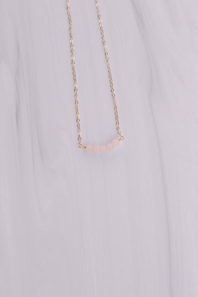 Five Bead Rose Quartz Short Necklace - Lux Reve