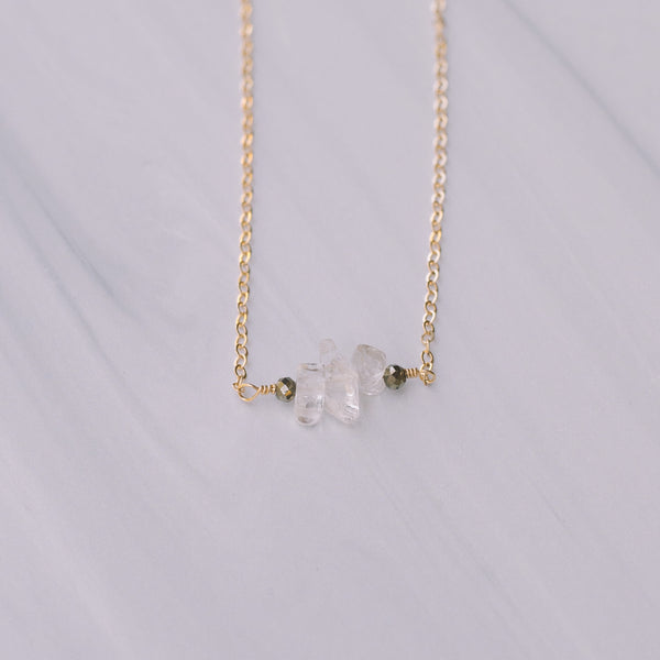 Clear Crystal and Pyrite Short Necklace - Lux Reve