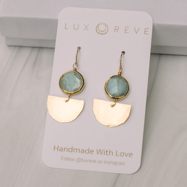 Aquamarine Mini Art Deco Earrings - Lux Reve