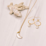 Moon Shaped Freshwater Pearl Short Necklace - Lux Reve