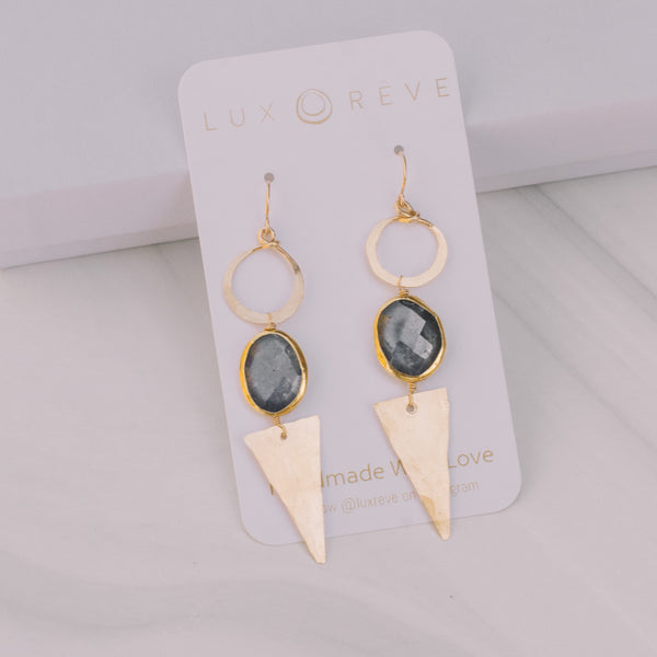 Sapphire Gold Bezel Statement Earrings - Lux Reve