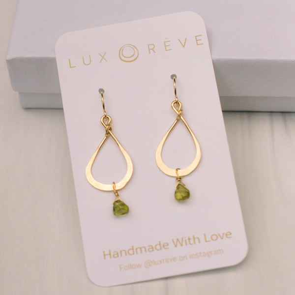 Mini Peridot Tear Drop Earrings - Lux Reve