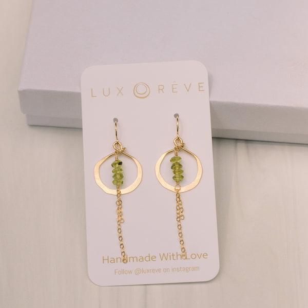 Mini Peridot Hoop Earrings - Lux Reve