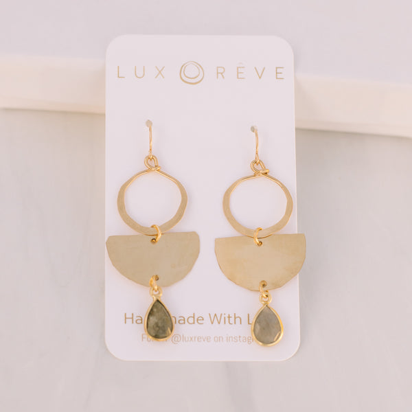 Gold Bezel Turquoise Boho Earrings - Lux Reve