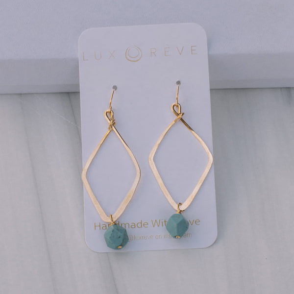 Large Diamond Howlite Turquoise Earrings - Lux Reve