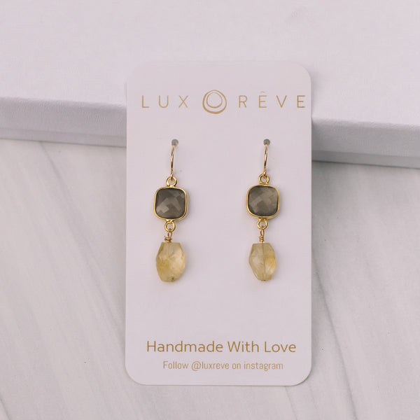 Gold Bezel Mystic Labradorite and citrine Earrings - Lux Reve
