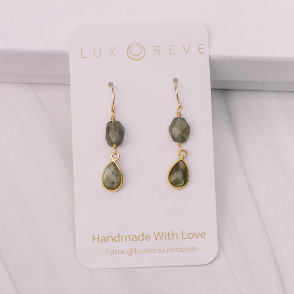 Mini Gold Bezel Labradorite Earrings - Lux Reve