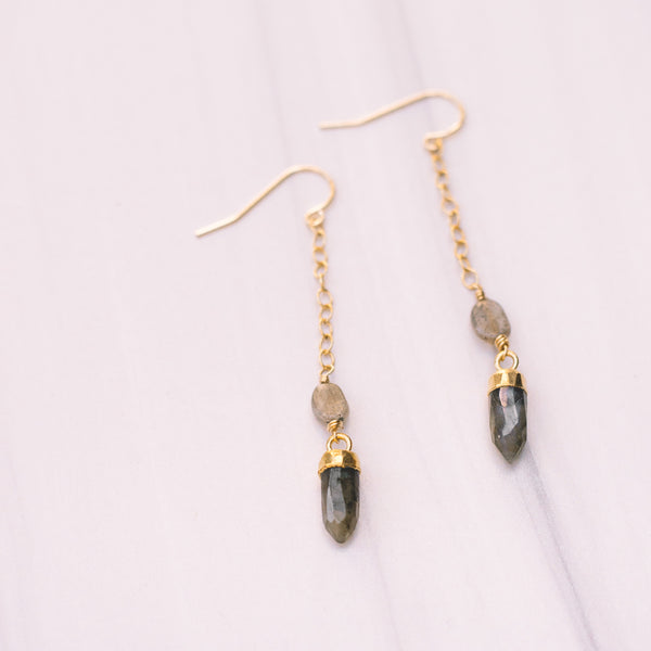 Labradorite Drop Earrings - Lux Reve