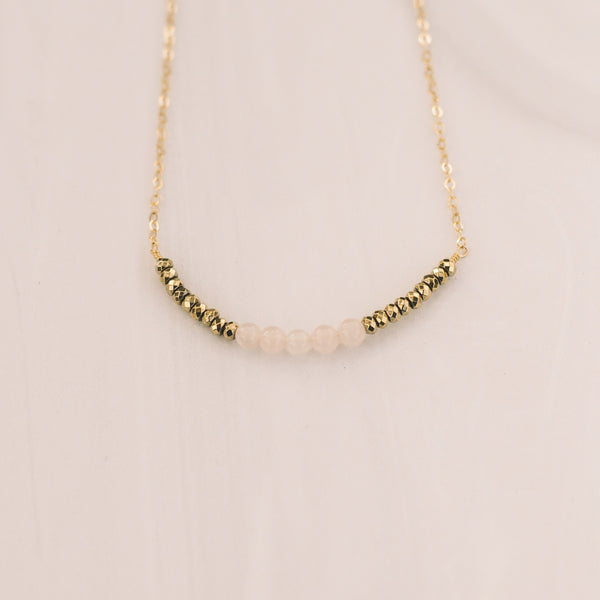 Rose Quartz and Gold Beaded Necklace - Lux Reve