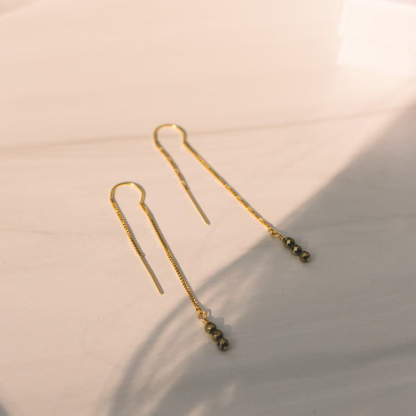 Gold-filled Pyrite Threader Earrings - Lux Reve