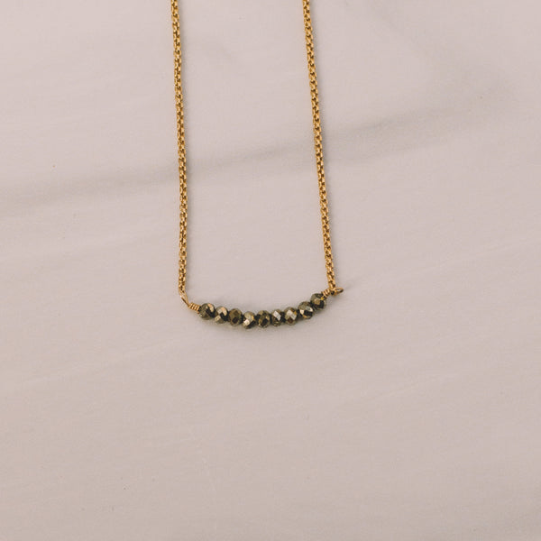 Pyrite Box Chain Short Necklace - Lux Reve
