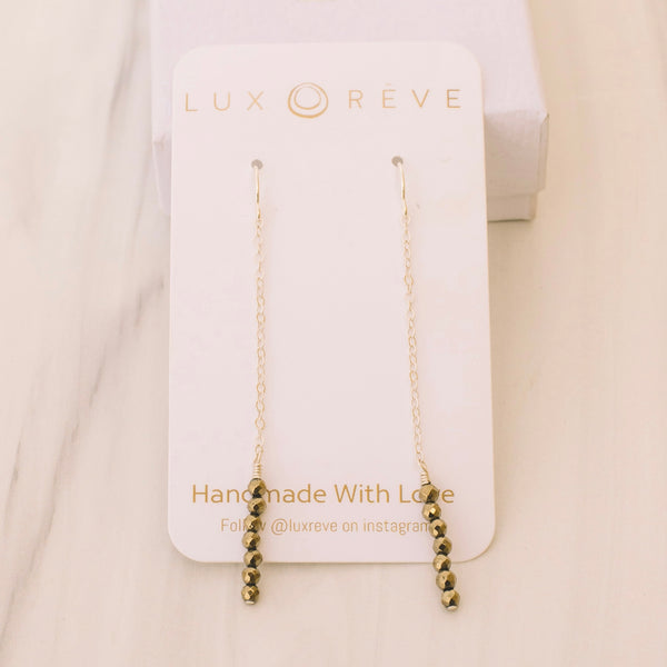 Gold Bezel Crystal Dangle Earrings