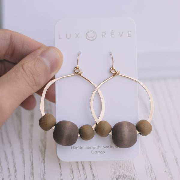 Earthy Bold Hoop Earrings - Lux Reve