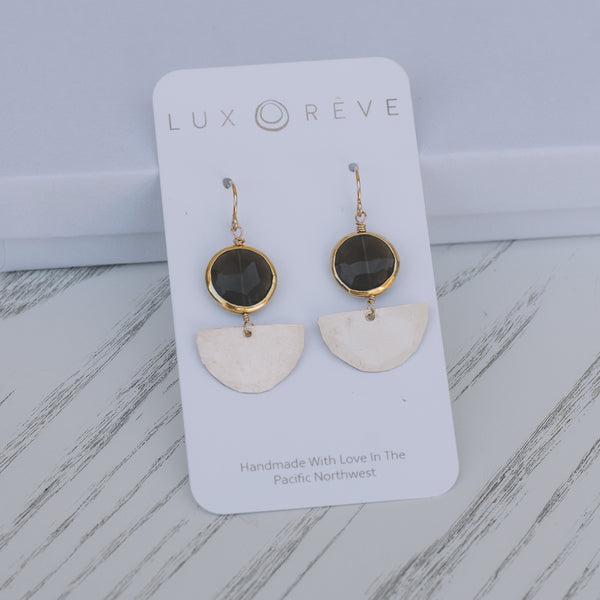 Smoky Quartz Mini Art Deco Earrings - Lux Reve