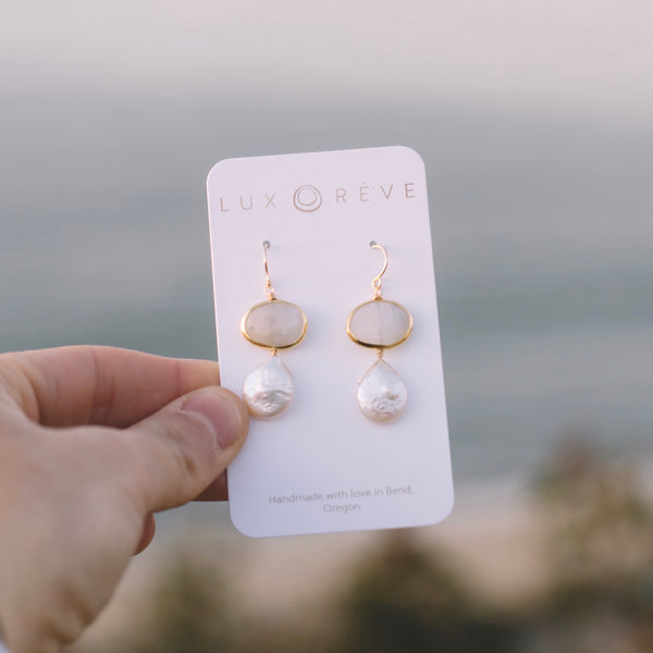 Moonstone & Pearl Earrings - Lux Reve