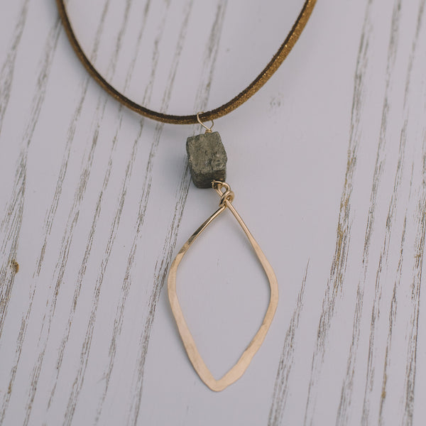 Pyrite Long Suede Necklace - Lux Reve