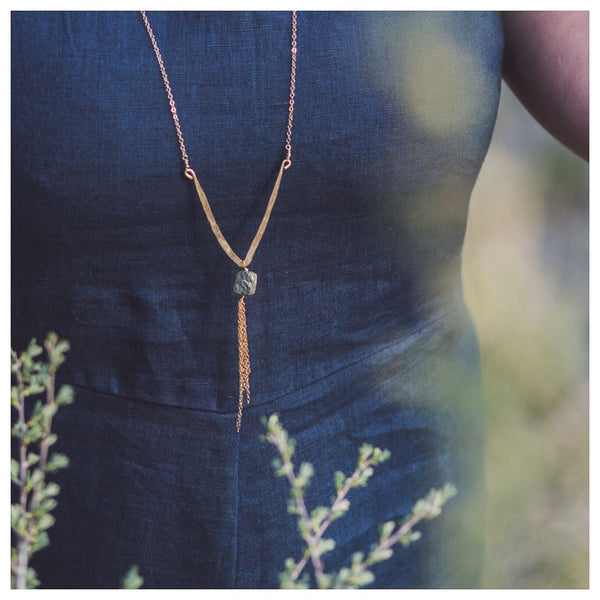 Hadely Long Pyrite Necklace - Lux Reve