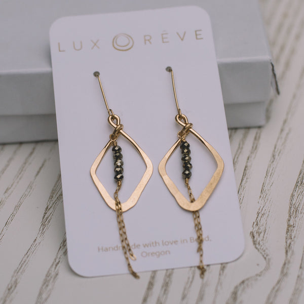Diamond Pyrite Dangle Earrings - Lux Reve