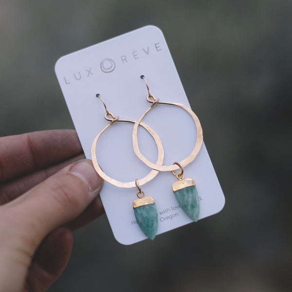 Amazonite Large Hoop Earrings - Lux Reve