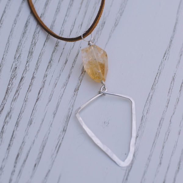 Citrine Long Suede Necklace - Lux Reve