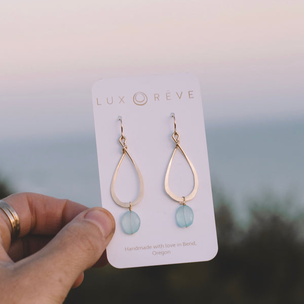 Tear Drop Teal Chalcedony Earrings - Lux Reve