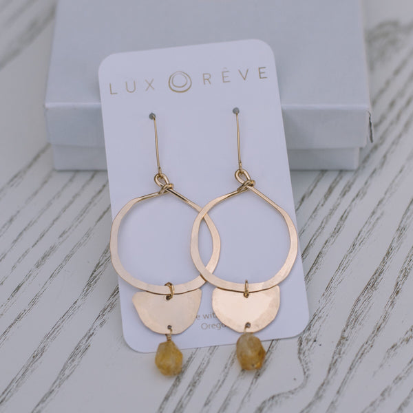 Citrine Boho Hoop Earrings