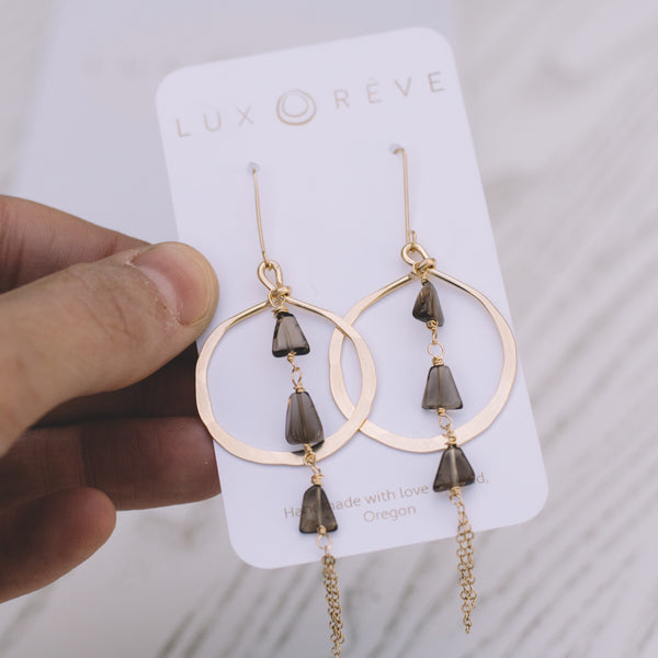 Smokey Quartz Hoop Earrings