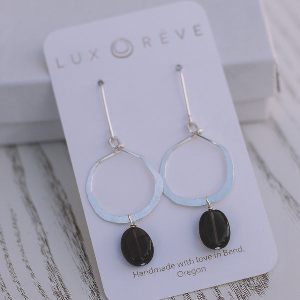 Mini Smokey Quartz Hoops